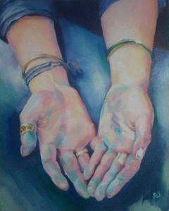 sara wilson art hands fingers touch artist woman oil board canvas painting figurative painter victoria bc