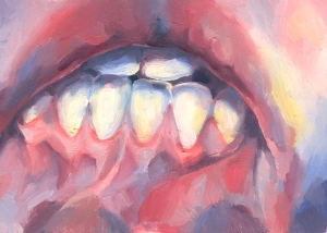 sara wilson art artist tiny original mouth lips teeth gums oil board painting figurative painter victoria bc