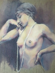 sara wilson art hands nude woman pearls vintage oil board canvas painting figurative painter victoria bc