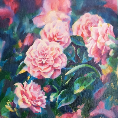 oil on board floral flowers victoria bc yyj oil painting landscape